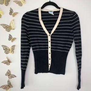 🦋🌙 URCHIN   Navy Blue Stripes Cardigan